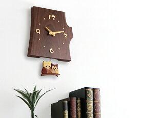 【時計 壁掛け 木製】旭川クラフト 工房 ペッカー F40 切株振り子時計(ふくろう/ねこ)