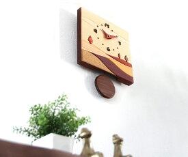 【時計 壁掛け 木製】旭川クラフト 工房 ペッカー J 寄木振り子時計