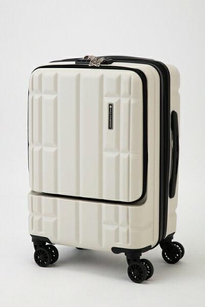 ホワイトスーツケースキャリーバッグマルチバースフロントオープンMVFP51機内持ち込みフロントポケット
