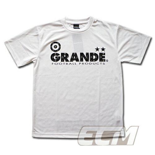"GRANDE ドライメッシュTシャツ ""MONOGRAM"" ホワイト x ブラック【グランデ/サッカー/フットサル/サポーター】◆ネコポス対応可能◆"