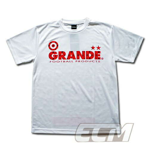 "GRANDE ドライメッシュTシャツ ""MONOGRAM"" ホワイト x レッド【グランデ/サッカー/フットサル/サポーター】◆ネコポス対応可能◆"