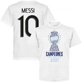 "M10WHT【REI21】RE-TAKE アルゼンチン代表 コパアメリカ 優勝記念Tシャツ 10番メッシ ホワイト ""Copa America Champions""【サッカー/南米選手権/Argentina/messi/メッシ】ネコポス対応可能"