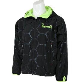 【SALE35%OFF】【GS018】GRANDE HEXAGON フードジャケット ブラックxイエロー【グランデ/サッカー/フットサル/サポーター/トレーニング】