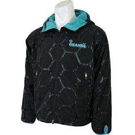 【SALE35%OFF】【GS018】GRANDE HEXAGON フードジャケット ブラックxアクア【グランデ/サッカー/フットサル/サポーター/トレーニング】