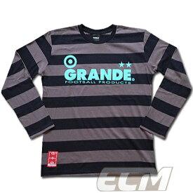 【SALE45%OFF】【GS018】GRANDE ボーダーロングスリーブシャツ ブラック x グレー【グランデ/サッカー/フットサル/サポーター/ロンT】GRN2015AW ネコポス対応可能