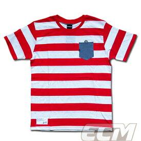 【SALE25%OFF】【GS018】GRANDE ボーダーデニムポケット付Tシャツ ホワイトxレッド【グランデ/サッカー/フットサル/サポーター】ネコポス対応可能
