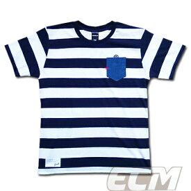【SALE25%OFF】【GS018】GRANDE ボーダーデニムポケット付Tシャツ ホワイトxネイビー【グランデ/サッカー/フットサル/サポーター】ネコポス対応可能