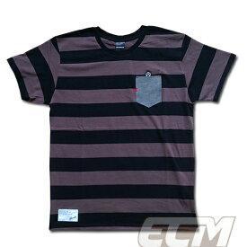 【SALE25%OFF】【GS018】GRANDE ボーダーデニムポケット付Tシャツ グレーxブラック【グランデ/サッカー/フットサル/サポーター】ネコポス対応可能