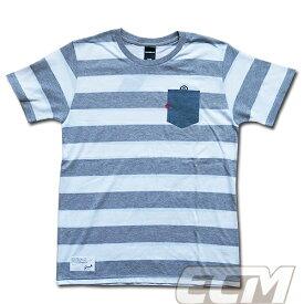 【SALE25%OFF】【GS018】GRANDE ボーダーデニムポケット付Tシャツ ホワイトxグレー【グランデ/サッカー/フットサル/サポーター】ネコポス対応可能