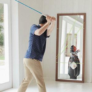 ゴルフスイング鏡全身練習大きい姿見ミラースイングチェックダンスゴルフ練習器具壁着付けフォームチェックスポーツ野球木おしゃれナチュラルウォールナット北欧備品木目シンプルゴルフスイングミラー