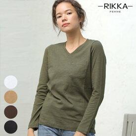 RIKKA FEMME リッカファム 長袖 Tシャツ R19W0002 レディース トップス ロンT シンプル Vネック GG3 H27