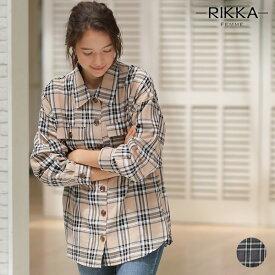 RIKKA FEMME リッカファム レディース 長袖シャツ R19W1122 チェックシャツ オーバーサイズ 秋 GG3 J1