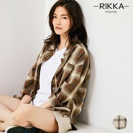 RIKKA FEMME リッカファム R20S114 レディース 長袖 シャツ トップス チェックシャツ オーバーサイズ HH2 E18