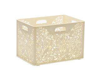 【収納ケース】【BOX】【透かし】【kotori】【おしゃれ】 YAMADA/山田化学 FOReT 収納ボックス バスケット 深型 クリーム ホワイト