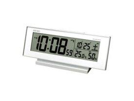 SEIKO/セイコークロック 日付・温度表示付き 電波目覚まし時計 ホワイト SQ762W