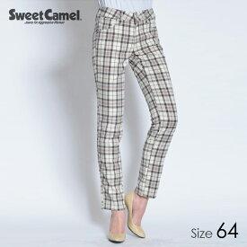 Sweet Camel/スウィートキャメル チェック柄テーパードストレート パンツ(70=アイボリーチェック/サイズ64)