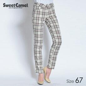 Sweet Camel/スウィートキャメル 【在庫限り】 チェック柄テーパードストレート パンツ(70=アイボリーチェック/サイズ67)