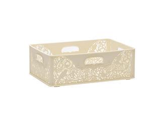 【収納ケース】【BOX】【透かし】【kotori】【おしゃれ】 YAMADA/山田化学 FOReT 収納ボックス バスケット 浅型 クリーム ホワイト