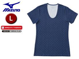 mizuno/ミズノ C2JA5522-84 俺のブレスサーモ ラウンドネック半袖シャツ 【L】 (ブルーハウンドトゥース)