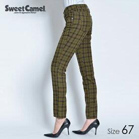 Sweet Camel/スウィートキャメル チェック柄テーパードストレート パンツ(86=オリーブチェック/サイズ67)