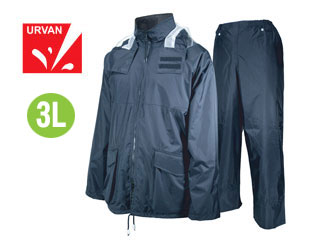 【nightsale】 URVAN/アーヴァン 雨雨 #5950 反射テープ付 レインスーツ 上下セット 男女兼用(ネイビー)【3L】