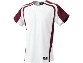 SSK/エスエスケイ BW0906-1022 1ボタンプレゲームシャツ 【M】 (ホワイト×エンジ)