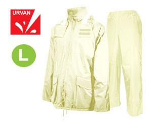【nightsale】 URVAN/アーヴァン 雨雨 #5950 反射テープ付 レインスーツ 上下セット 男女兼用(アイボリー)【L】