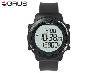 GRUS/グルス グルス GRS001-02 歩幅計測機能付きウォーキングウォッチ 【ブラック】(GRS00102) 【歩幅がはかれるウォーキングウォッチ】