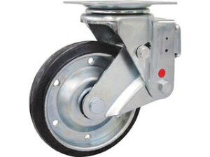 YUEI CASTER/ユーエイ スカイキャスター自在車 200径鋼板ホイル耐摩耗ゴムB入り車輪 SKY-1S200WF-AR-AS