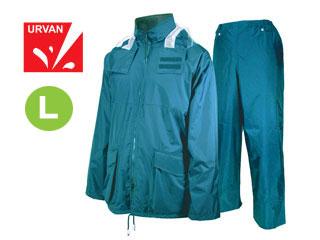 【nightsale】 URVAN/アーヴァン 雨雨 #5950 反射テープ付 レインスーツ 上下セット 男女兼用(ブルー)【L】