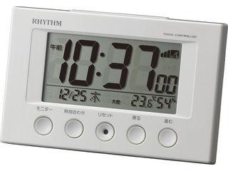 RHYTHM/リズム時計 8RZ166SR03 【フィットウェーブスマート】 電波目覚まし時計 白/温度湿度表示/カレンダー・六曜表示