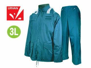 【nightsale】 URVAN/アーヴァン 雨雨 #5950 反射テープ付 レインスーツ 上下セット 男女兼用(ブルー)【3L】