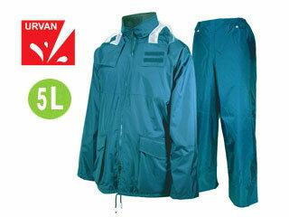 【nightsale】 URVAN/アーヴァン 雨雨 #5950 反射テープ付 レインスーツ 上下セット 男女兼用(ブルー)【5L】
