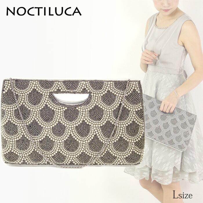 NOCTILUCA/ノクチルカ うろこ配置 パール&サテン くり手 パーティーバッグ (グレー/Lサイズ 大きめ)*
