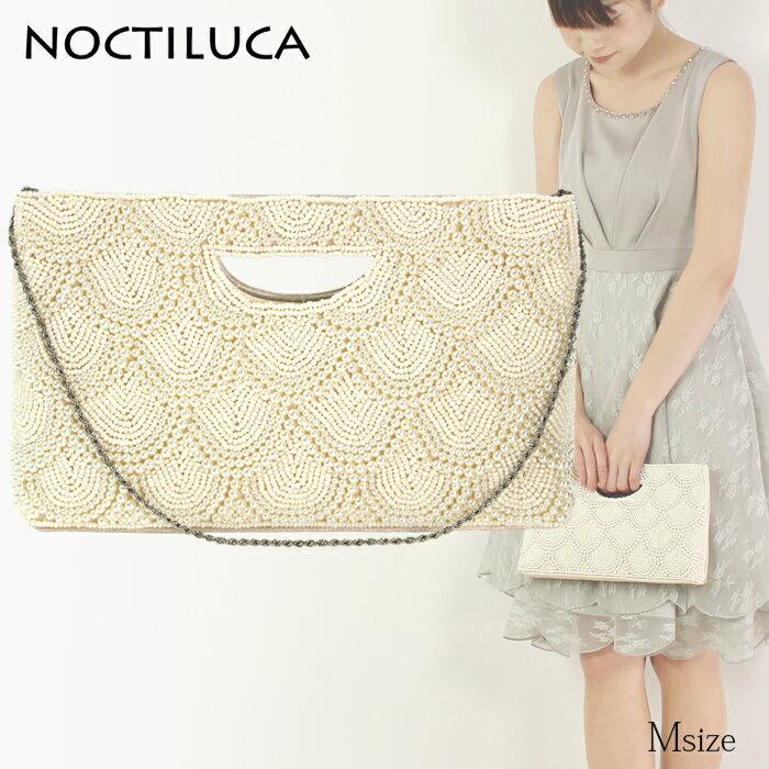 NOCTILUCA/ノクチルカ うろこ配置 パール&サテン くり手 パーティーバッグ (オフホワイト/Mサイズ)