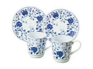 KANESHO/金正陶器 スヌーピー 藍唐草 ペアマグ&ケーキ皿セット/630744