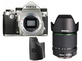 PENTAX/ペンタックス KPボディキット(シルバー)+グリップM+【アウトレット】DA18-135mmF3.5-5.6レンズセット【kpset】 ※交換レンズは『新品アウトレット』です