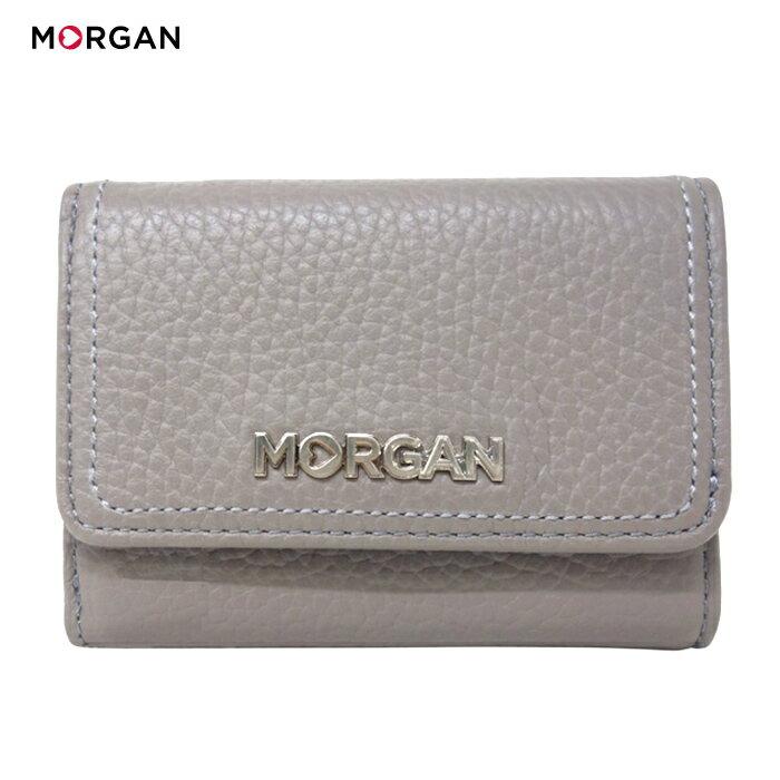 MORGAN/モルガン MR1001 レディース 2つ折り レザー ミニウォレット (グレー)