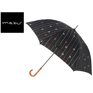 mabu world/マブワールド MBU-MLJ09 長傘 ジャンプ 日傘/晴雨兼用傘 レジェ ワンタッチスリム 58cm (フルールドロップノワール)