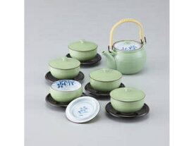 西海陶器 緑巻桔梗絵 蓋付茶器揃(茶托付)/56954