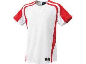 SSK/エスエスケイ BW0906-1020 1ボタンプレゲームシャツ 【M】 (ホワイト×レッド)