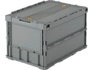 薄型折りたたみコンテナ50Lロックフタ付グレーTR-C50BGY