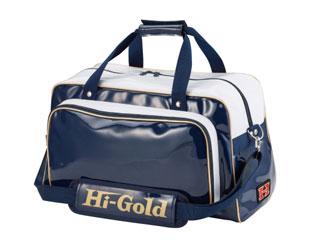 HI-GOLD/ハイゴールド HB-300 エナメルショルダーバッグ ワイドレギュラー 【37L】(ネイビー×ホワイト×ゴールドパイピング)