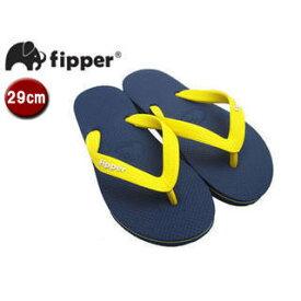 fipper/フィッパー FJ02-SK18 ビーチサンダル スリップ防止タイプ 天然ゴム製 【29cm(UK10)】 (ネイビー/イエロー)