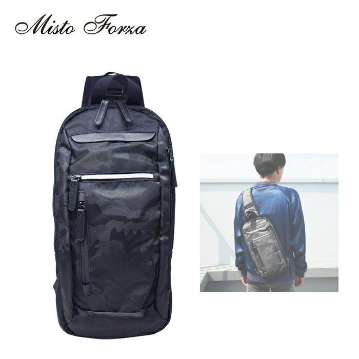 Misto Forza/ミストフォルツァ FMI11 メンズ ジャガード織 薄マチ ボディバッグ (ブラック迷彩)