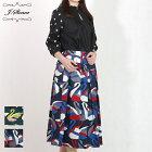 ハードクロス北欧風スワンプリントスカート(グリーン/Mサイズ)J.sloane/ジェイスローアン