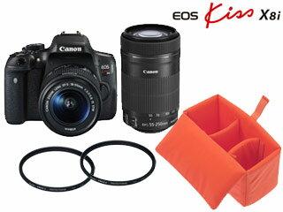 【5月25日頃入荷分】 CANON/キヤノン EOS Kiss X8i(W)・ダブルズームキット+インナーボックス+レンズフィルター2枚セット【x8iset】