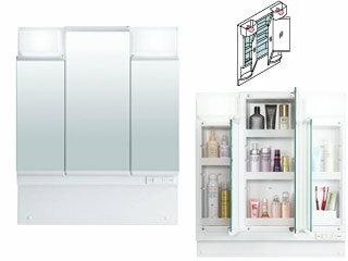 【時間帯指定不可】 LIXIL/リクシル 【INAX】洗面化粧台用化粧鏡750mm D7 三面鏡LED くもり止めコート