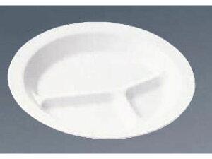 ENTEC/エンテック ポリプロピレン食器 白 丸ランチ皿三ッ切/1714W
