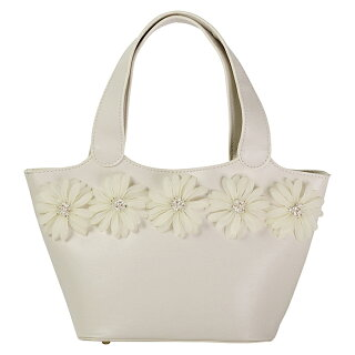 FROUFROU/フルフル花つき合皮トートバッグ(ホワイト)
